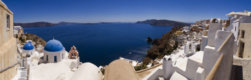 Panoramic view of Santorini island. Photo taken on a sunny day showing the island of Santorini Royalty Free Stock Images