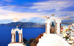 Panoramic View Of Santorini Island,cyclades. Greece Royalty Free Stock Images