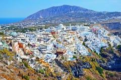 Beautiful Santorini island skyline Greece. Panoramic view of Santorini island and Fira village in the foreground Cyclades Greece Stock Image