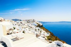 Panoramic view of Santorini island, Greece. Beautiful summer seascape. Famous travel destination stock images
