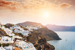 Panoramic view of Santorini island, Greece at sunrise. Royalty Free Stock Photography