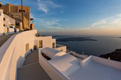 Panoramic view of Santorini island and Sunset over town of Imerovigli, Thira, Greece Royalty Free Stock Photo