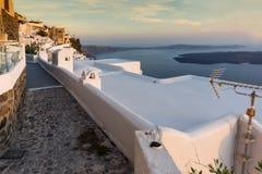 Panoramic view of Santorini island and Sunset over town of Imerovigli, Thira, Greece Royalty Free Stock Photography