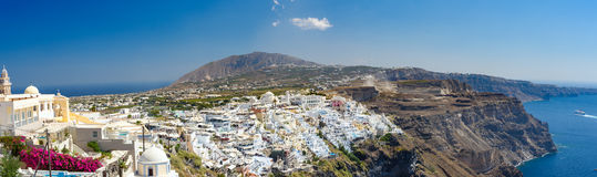 Panoramic view of Santorini  island village and Thira town Stock Photography
