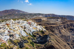 Panoramic view of Santorini  island village and Thira town Stock Photos
