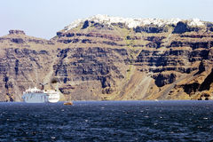 Panoramic view of Santorini's city Royalty Free Stock Photography