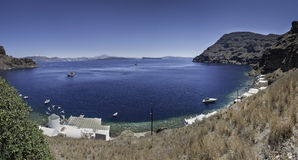 Panoramic view of Santorini from Thirasia island Royalty Free Stock Photography