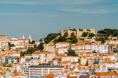 Panoramic View Of Sao Jorge Castle In Lisbon Royalty Free Stock Photo
