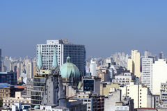 Panoramic view of the  Sao Paulo Downtown Stock Images