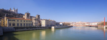 Panoramic view of Saone river Stock Photos