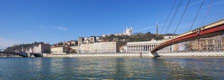 Panoramic view of Saone river at Lyon Stock Photo