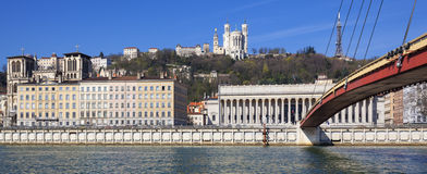 Panoramic view of Saone river at Lyon Stock Photography