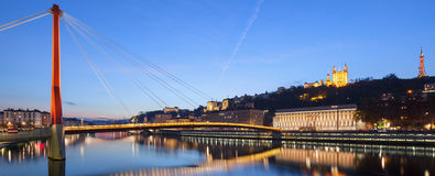 Panoramic view of Saone river at sunse Stock Photos