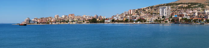 Panoramic view of Saranda, Albania Stock Image