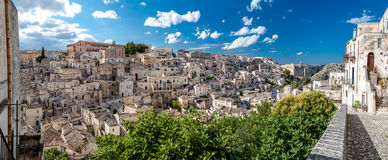 Panoramic view of Sassi di Matera ancient town from Piazza Duomo Stock Photos