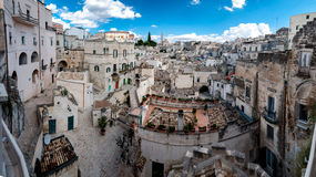 Panoramic view of Sassi di Matera from Piazza Vittorio Veneto Royalty Free Stock Photos