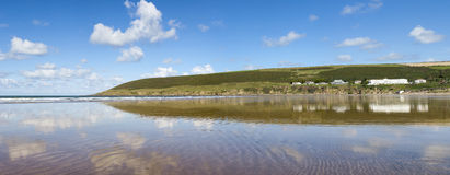 Panoramic View of Saunton Sands Royalty Free Stock Photography