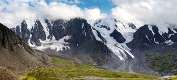 Panoramic view of savlo rock face - altai range Stock Images