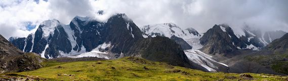 Panoramic view of savlo rock face - altai range Stock Photos