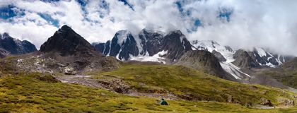 Panoramic view of savlo rock face - altai range Royalty Free Stock Image