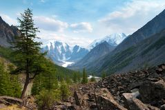 Panoramic view of savlo rock face - altai range Stock Photo