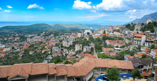 Panoramic view, Scene with Kruja castle and Kruja old village, Bazaar street,fort, Tirana in Albania. Stock Photography
