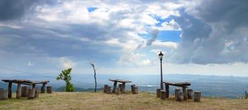 Panoramic view, Scene with Kruja old building village,near capital Tirana in Albania. Royalty Free Stock Photo
