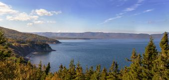 Panoramic view of scenery beside the famous Cabot Trail stock images