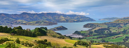 Panoramic view of scenic Banks Peninsula, famous for its bays, in Canterbury. New Zealand Royalty Free Stock Photos
