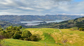 Panoramic view of scenic Banks Peninsula, famous for its bays, in Canterbury Stock Images