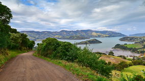 Panoramic view of scenic Banks Peninsula, famous for its bays, in Canterbury Stock Photo