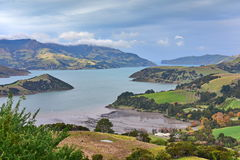 Panoramic view of scenic Banks Peninsula, famous for its bays, in Canterbury. New Zealand Stock Image