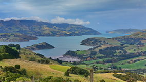 Panoramic view of scenic Banks Peninsula, famous for its bays, in Canterbury. New Zealand Royalty Free Stock Photo