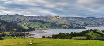 Panoramic view of scenic Banks Peninsula, famous for its bays, in Canterbury. New Zealand Stock Photo