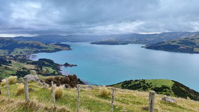 Panoramic view of scenic Banks Peninsula, famous for its bays. In Canterbury, New Zealand Stock Photos