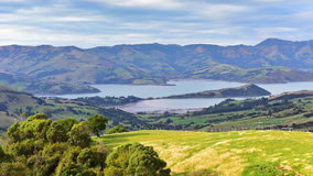 Panoramic view of scenic Banks Peninsula, famous for its bays. In Canterbury, New Zealand Royalty Free Stock Image