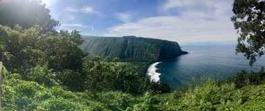 Panoramic view of Scenic cliffs and ocean at Waipi'o Valley on the Big Island of Hawaii Stock Photo