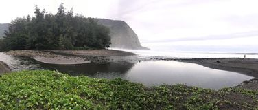 Panoramic view of Scenic cliffs and ocean at Waipi'o Valley on the Big Island of Hawaii Stock Images