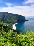 Panoramic view of Scenic cliffs and ocean at Waipi'o Valley on the Big Island of Hawaii Stock Image