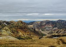 Panoramic view on scenic highland area of Landmannalaugar geothermal area, Fjallabak Nature Reserve in Central Iceland stock photography