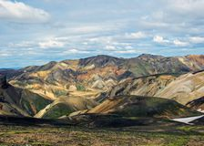 Panoramic view on scenic highland area of Landmannalaugar geothermal area, Fjallabak Nature Reserve in Central Iceland royalty free stock photos