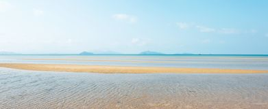 Panoramic view, scenic tropical sea in summer. Beautiful ripple marks on golden sand beach, white clouds and light blue sky, royalty free stock images