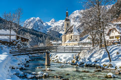 Panoramic view of scenic winter landscape in the Bavarian Alps w Royalty Free Stock Photo