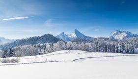 Winter wonderland with Watzmann in winter, Bavaria, Germany royalty free stock images