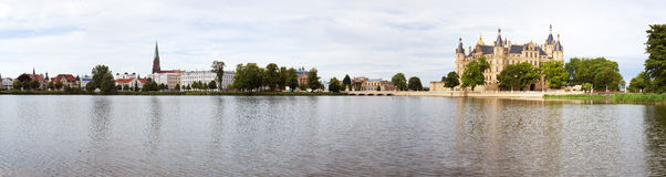 Panoramic view of Schwerin with castle and lake Royalty Free Stock Photos