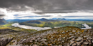 Panoramic view of Scottish highlands in Loch Assynt area Stock Photo