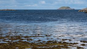 Panoramic view of the Scottish Highlands looking out to sea near Lochinver, north west coast of Scotland. royalty free stock photography