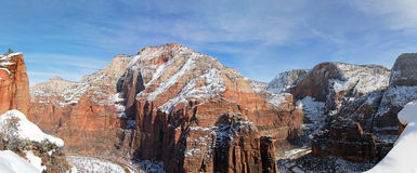 Panoramic View from Scouts Lookout on Angels Landing Hiking Trail in Zion National Park in Utah. USA stock photo