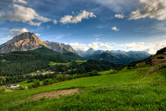 Panoramic view at Scuol. Panoramic view on late afernoon at Scuol, Switzerland Royalty Free Stock Photography
