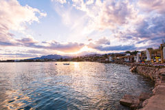 Panoramic view on sea ​​bay on sunset, Dahab, Egypt Royalty Free Stock Images